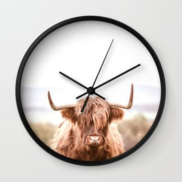 Highland Cow in a Field Southern Wall Clock