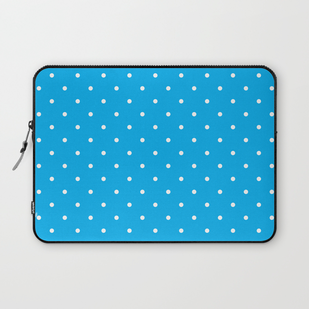 Small White Polka Dots With Blue Background Laptop Sleeve LSV8673878