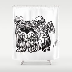 Woof :: A Dust Mop Dog Shower Curtain