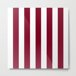 Oxblood red - solid color - white vertical lines pattern Metal Print