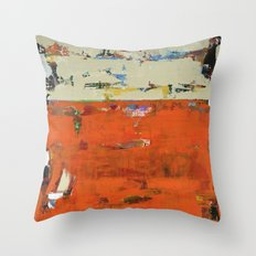 Roadrunner Bright Orange Abstract Colorful Art Painting Throw Pillow