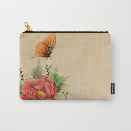 Watercolor flower and butterfly on old parchment paper Carry-All Pouch