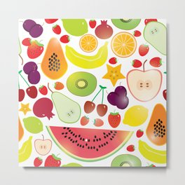 Healthy lifestyle. Fruits on white background Metal Print