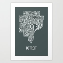Detroit typography map poster - Slate Art Print