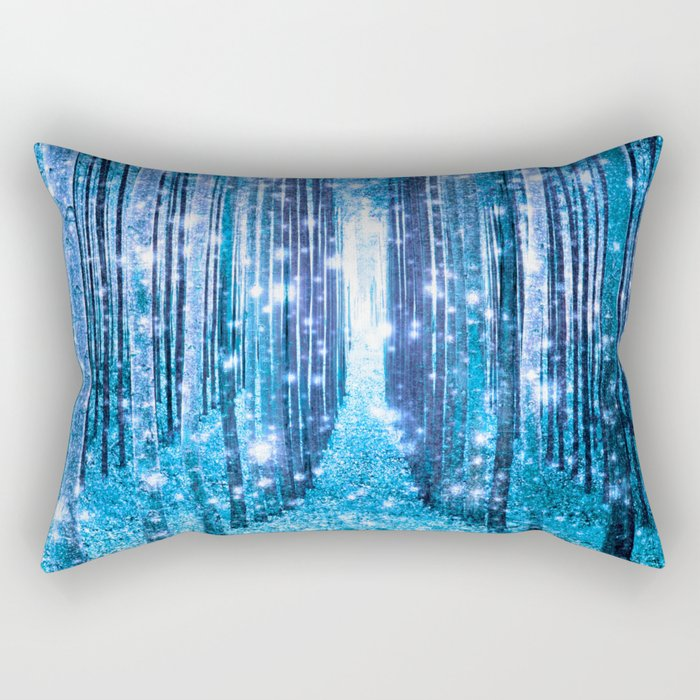 Magical Forest  Light Blue Turquoise Rectangular Pillow