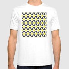 Yellow, white stripes geometric pattern Mens Fitted Tee White MEDIUM