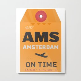 AMS Amsterdam airport orange Metal Print