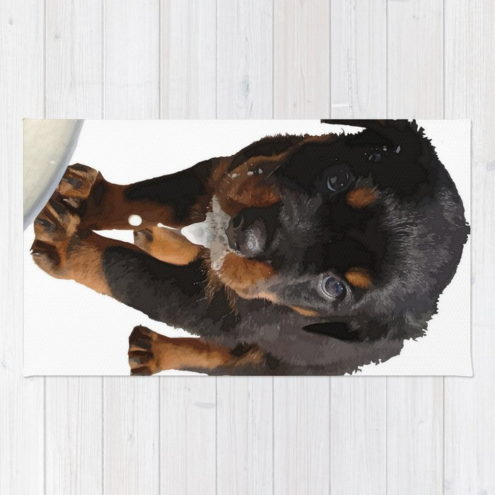 Cute Rottweiler Puppy Lapping Milk Vector Rug By Taiche Society6