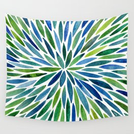 Watercolor Burst – Blue & Green Wall Tapestry