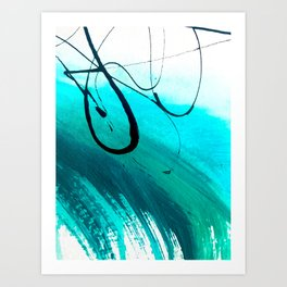 Moving On: an abstract mixed media piece in blue, greens, black and white by Alyssa Hamilton Art Art Print