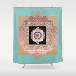 Rose Gold and Muted Turquoise Lakshmi Soul Mandala Shower Curtain
