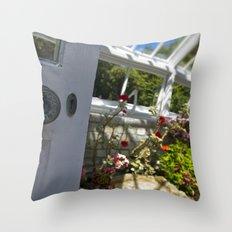 Greenhouse door Throw Pillow