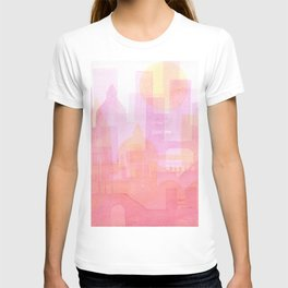 Pink and golden city watercolor T-shirt