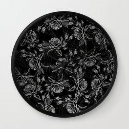 Elegant black faux silver vintage rose floral Wall Clock