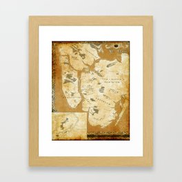 Fantasy Map of New York: Gold Parchment Framed Art Print