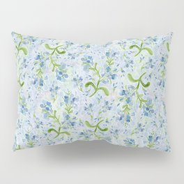 Watercolor Plumbago Flowers on Maidenhair Ferns Pillow Sham