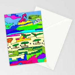 the crazy persons in plaza Stationery Cards