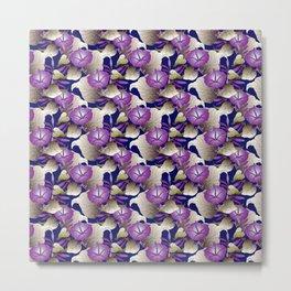 Purple Morning Glory Floral Wallpaper Pattern Metal Print