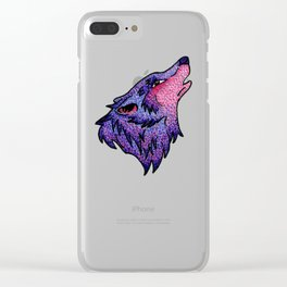 Spotted Wolf Head in Pink and Purple Clear iPhone Case