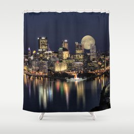 Moon Rise Over Pittsburgh Shower Curtain