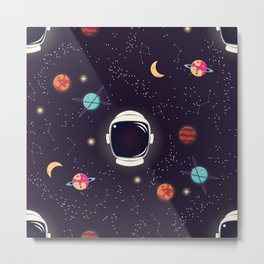 Universe with planets, stars and astronaut helmet seamless pattern 003 Metal Print