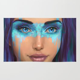 Portrait of a beautiful girl with blue paint on her face Rug