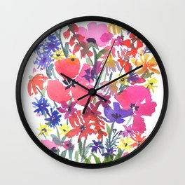 Little Pink Poppies Wall Clock