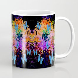 Butterfly Dreams in  Black Fantasia Colors Abstract Coffee Mug