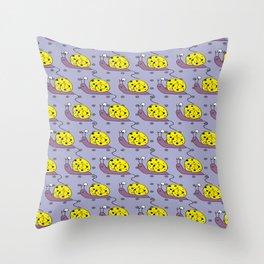 Yellow Snails (round two) Throw Pillow