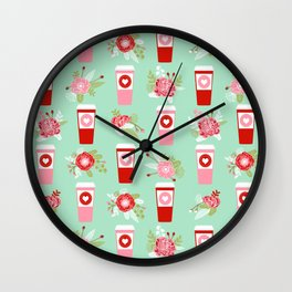 Coffee valentines day gifts mint and pink floral bouquet flowers pattern print Wall Clock