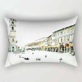 Faenza: square with buildings and bell tower Rectangular Pillow