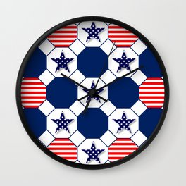 Nautical Patriotic Hexagons Wall Clock