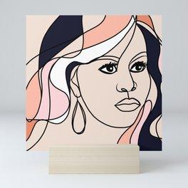 Line-art portrait - Female Icon, Michelle Mini Art Print