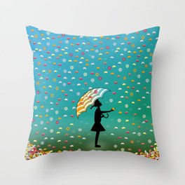 It's Raining Flowers Throw Pillow