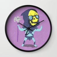 skeletor Wall Clocks featuring Skeletor by Rod Perich