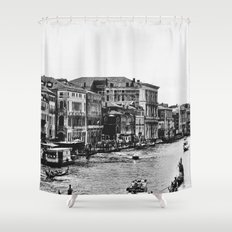 Along the Grand Canal b&w Shower Curtain