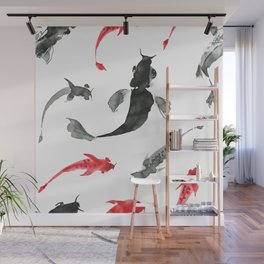 Red and black fish watercolors Japanese pattern Wall Mural
