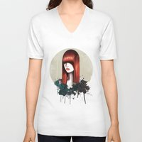 redhead V-neck T-shirts featuring The Redhead by Nettsch