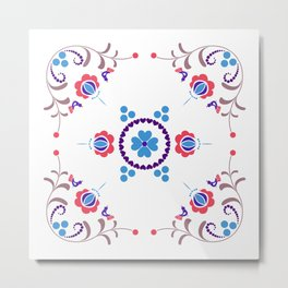 RED & BLUE  Hungarian folk art Metal Print