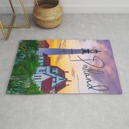 Portland Lighthouse Sunrise Travel Text Print Rug