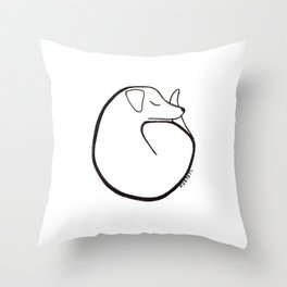 curly dog Throw Pillow