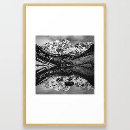 Maroon Bells in BW Framed Art Print