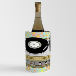 Retro Vibes Record Player Design in Yellow Wine Chiller