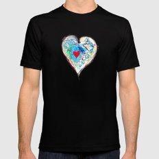 scribble heart Mens Fitted Tee MEDIUM Black