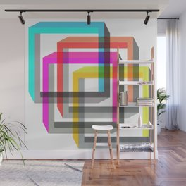 Colorful impossible 3D shapes overlapping. Wall Mural