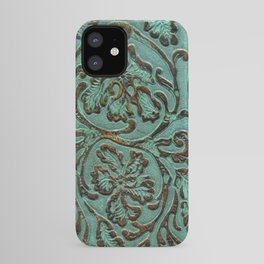 Aqua Flowers Tooled Leather iPhone Case