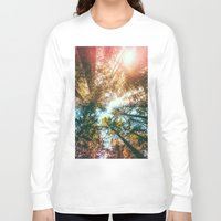 sun Long Sleeve T-shirts featuring California Redwoods Sun-rays and Sky by Elena Kulikova