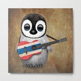 Baby Penguin Playing Thai Flag Guitar Metal Print
