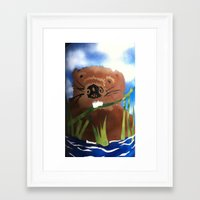 beaver Framed Art Prints featuring Beaver by LorraineImwoldart