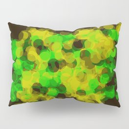 green and yellow painting circle pattern with black background Pillow Sham
